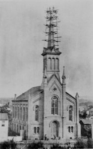 1884 St. Paul's Lutheran Church, Daniel W. Gant and joshua Sweger repairing steeple